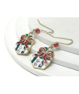 Crystal and Epoxy Christmas Gift Box Gold Dangl... - $8.00