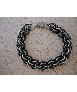 SOLD! Silver & Black Chainmaille Bracelet -- Fe... - $40.00