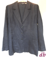 CHICO'S size 1 BLAZER jacket NAVY paisley LINEN... - $30.08
