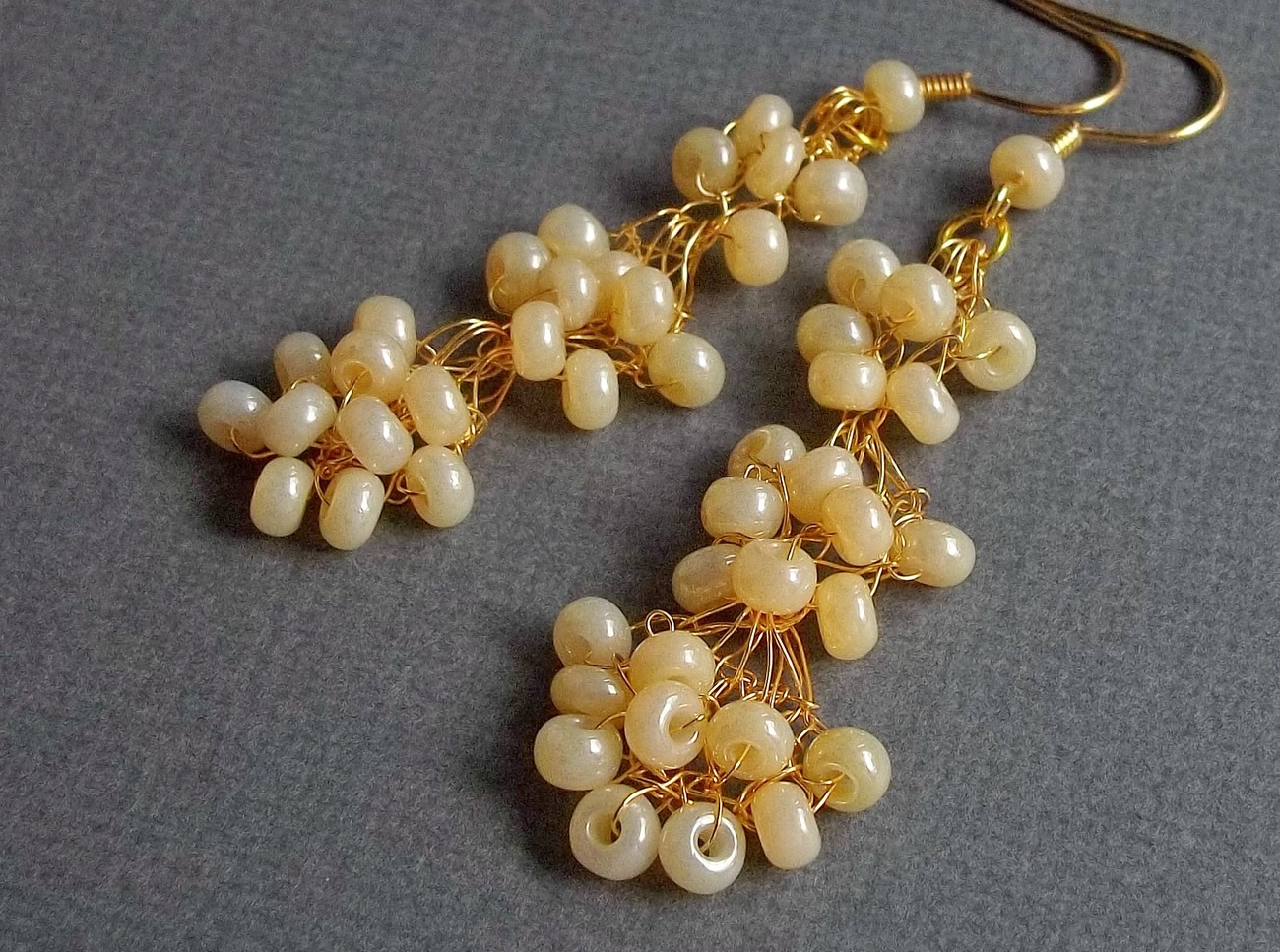 Ivory Pearl Earrings  Bridal  Designer  Crochet  Vintage  Retro  24K gold plated