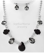 Elegant black crystals tear drop necklace set p... - $22.76