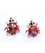 Red lady bug cute fashion earrings pierced crys... - $11.87