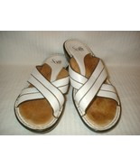 SOFFT White Leather Slide Sandals SZ 7.5 M  - $16.99