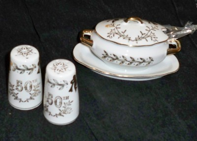 50th Wedding Anniversary Lefton China Gravy Boat Shakers Japan 1955 Vintage