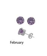 Sterling Silver Birthstone 4m CZ Stud Push Back... - $13.71