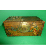Antique Chinese Pigskin Leather Box Hand Painte... - $175.00