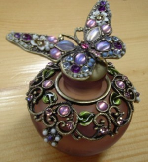 Purple Butterfly Perfume Bottle Glass Jeweled - Perfumes