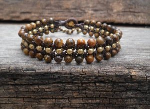 Triple Tiger Eye Brass Row Bracelet