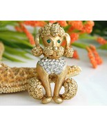 Vintage French Poodle Dog Brooch Pin Rhinestone... - $19.95