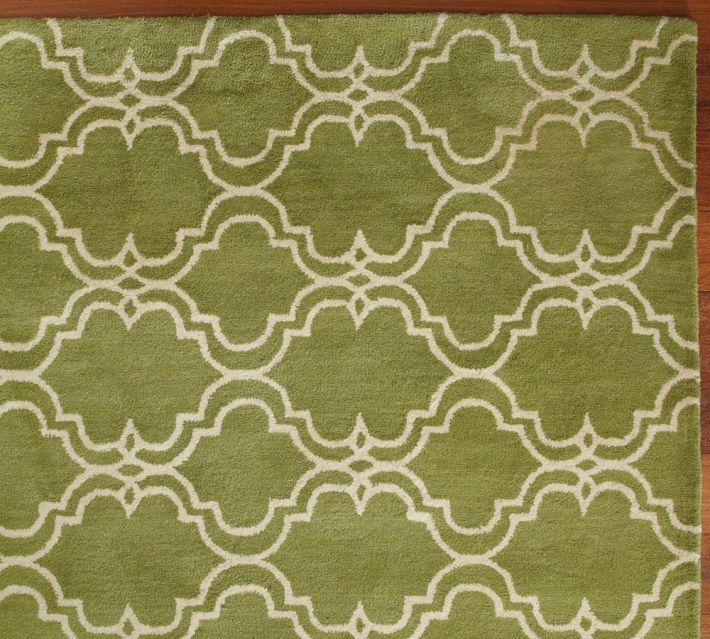 New Pottery Barn SCROLL TILE GREEN Persian Style Woolen Area Rug Carpet 8x10