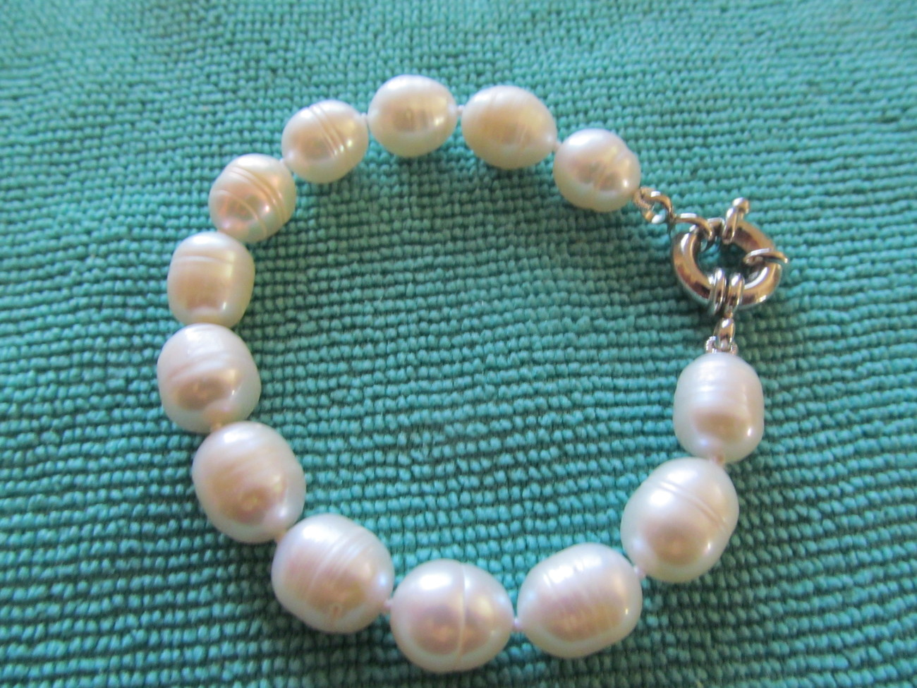 CULTURED RING PEARL BRACELET 7.5 INCH WHITE