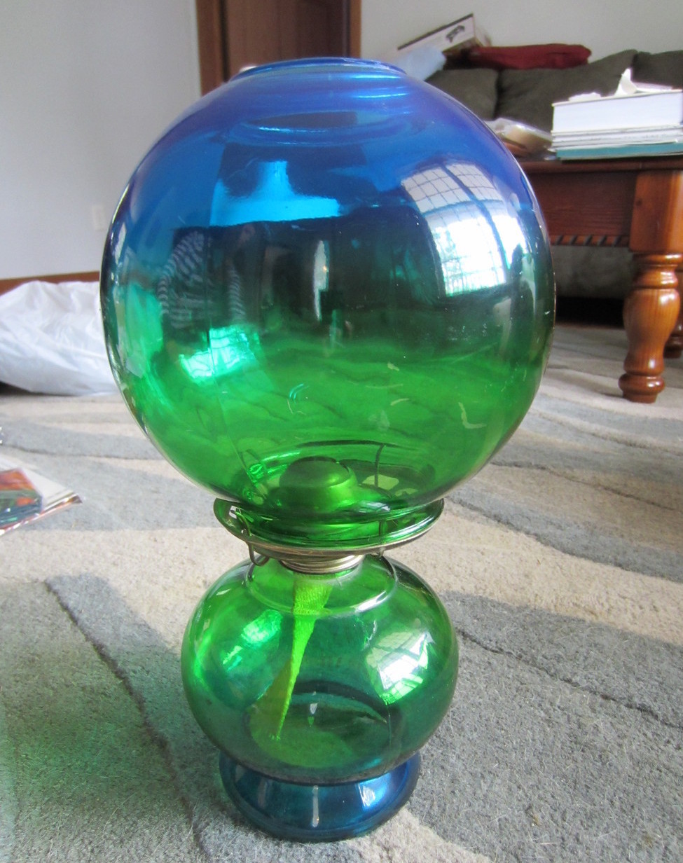 Blue Green Gradation Glass Hurricane Kerosene Oil Lamp Gone With the Wind Vintge