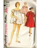 Vintage SIMPLICITY #1102 - Nightgown, Shortie &... - $10.00