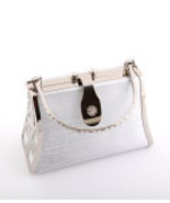 925B-SIL  Silver Hard Frame Evening Bag - $20.00
