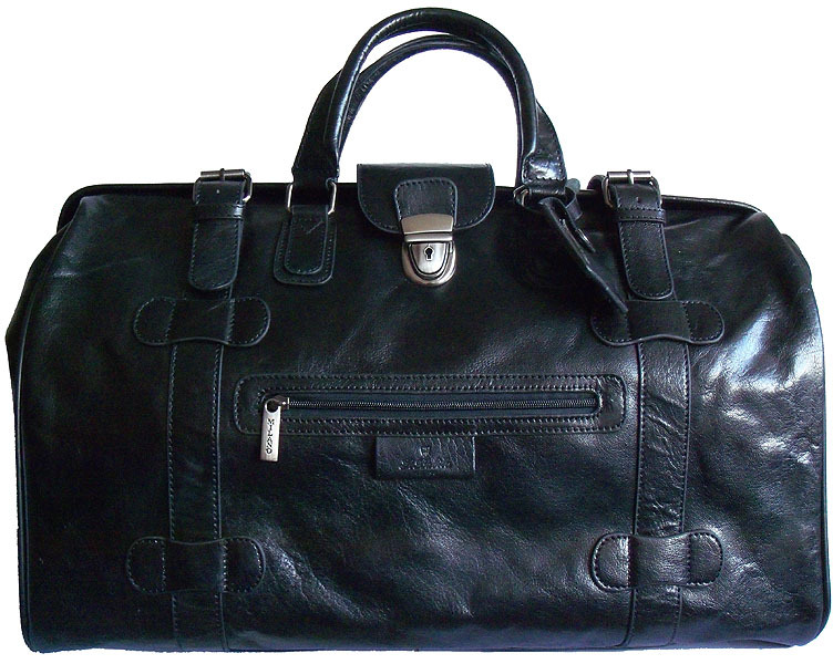 Large Black Leather Gladstone Bag By San Babila