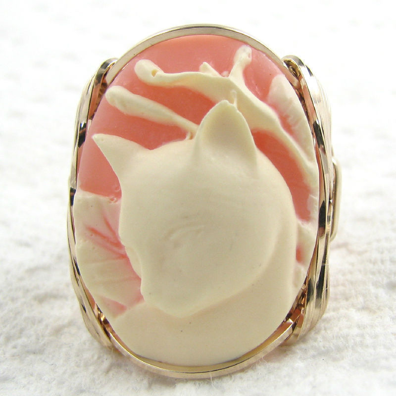 Calla Lily Cat Cameo Ring 14K Rolled Gold Custom Jewelry