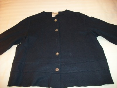 WOMEN COLDWATER CREEK NAVY TOP SHIRT M MEDIUM PETIT NWT