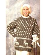 X374 Knit PATTERN ONLY Reindeer Tunic Pullover ... - $7.45