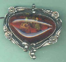 LARGE STERLING SILVER RED BALTIC AMBER TRIANGLE BROACH
