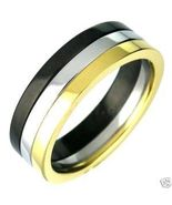 SSR2295 Gold Black Silver Band Stainless Steel ... - $12.99