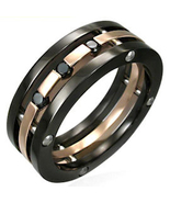 SSR1944 Black CZ Copper Chunky Stainless Steel ... - $24.99