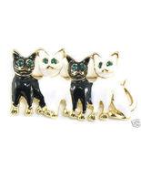 BP39 Black White Cats Kitty Crystal Eyes Brooch... - $4.99