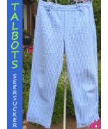 TALBOTS CAPRI crop PANTS texture SEERSUCKER blu... - $20.08