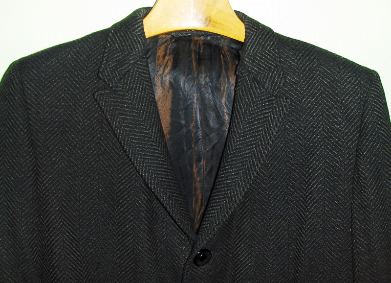 50's 60's Vintage Mod Men's Winter Coat Wool Rockabilly Herringbone