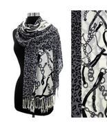 Leopard & Belt Motif Design Print Gray Pashmina... - $20.78