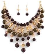 Stunning golden brown crystal beaded bib fashio... - $18.81