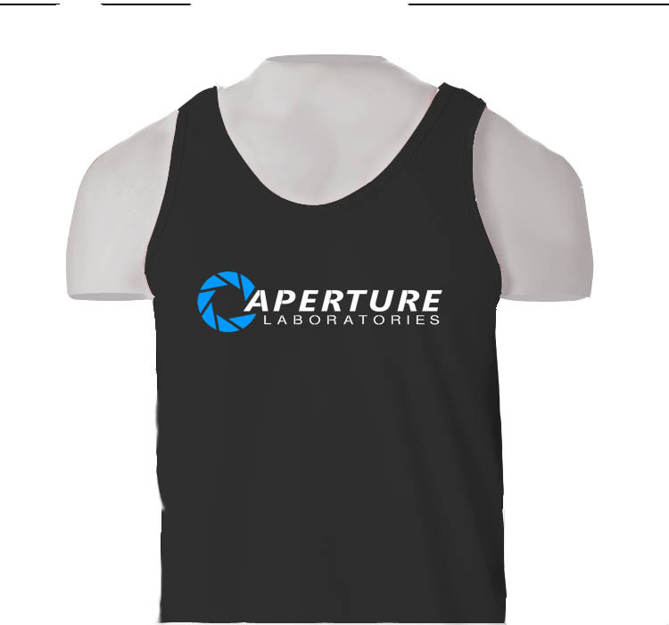 Aperture Laboratories Science Portal 2 Half Life Game Logo BLACK & GREY TANK TOP