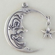 Sterling Silver Jewelry Charm Large Moon Face With Star
