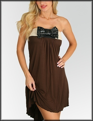 Brown Bow Strapless Dress Size S M L