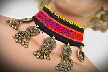 ~TRIBAL BELLYDANCE ATS® KUCHI SILVER DELUXE BANJARA TRIBAL NECKLACE CHOKER~RENN