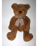 Russ Byron Teddy Bear Brown Gingham Bow Plush S... - $14.88
