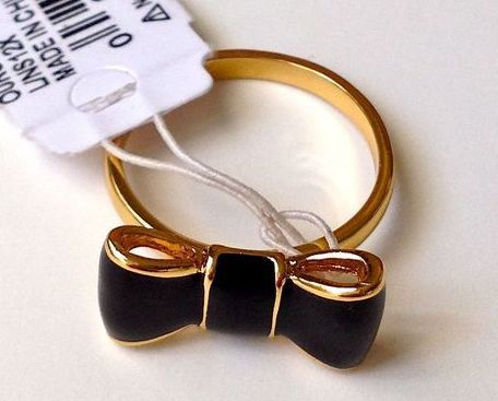 KATE SPADE TAKE A BOW RING, GOLD PLATED WITH BLACK BOW SIZE 7