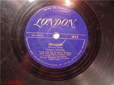 "LONDON 78 RPM 10"" THERESA BREWER 604 A / 604 B"