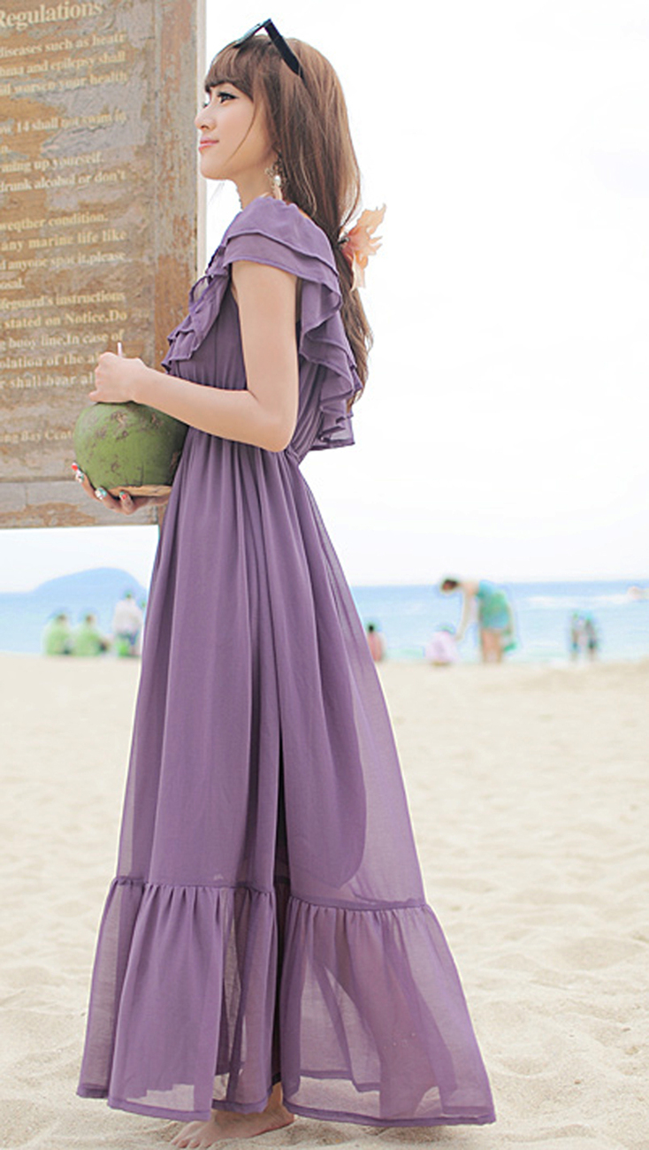 2012_spring_summer_chiffon_dress_maxi_ruffles_purple_length