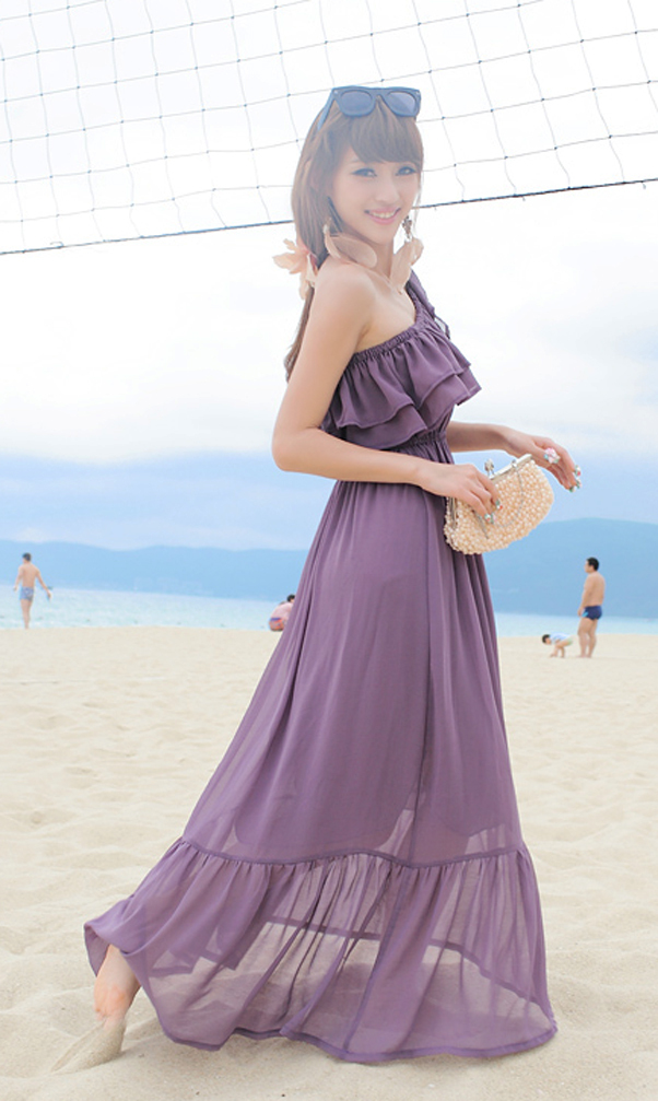 2012_spring_summer_chiffon_dress_maxi_ruffles_purple_side_view