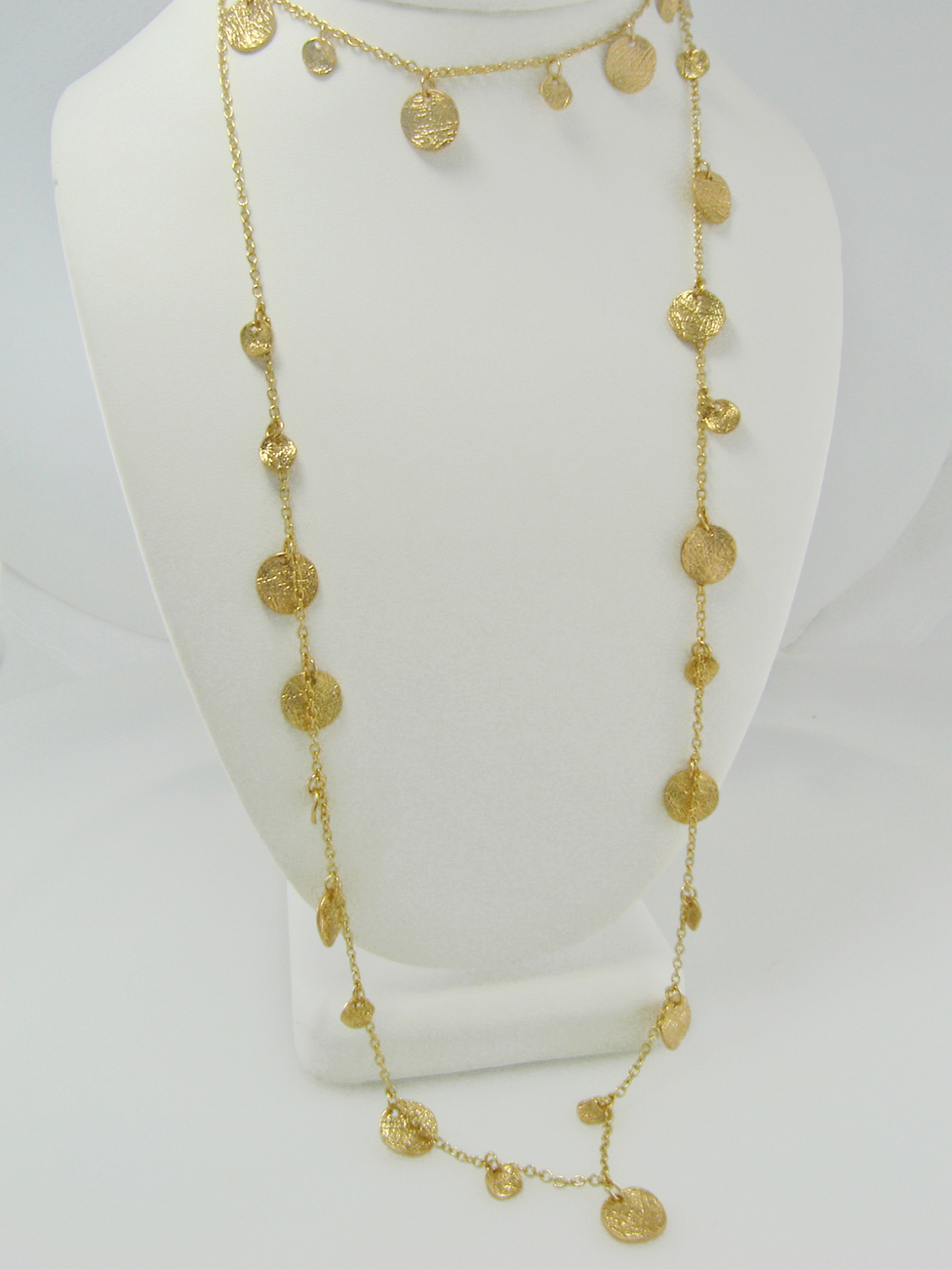 Courtney Cox Cougar Town - Textured Disc Necklace Shimmering Gold