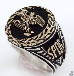 14k Gold Roman Eagle Wreath Mens Silver Signet ring