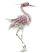 Stunning Pink Flamingo Crystal Pave Rhodium Bro... - $12.99