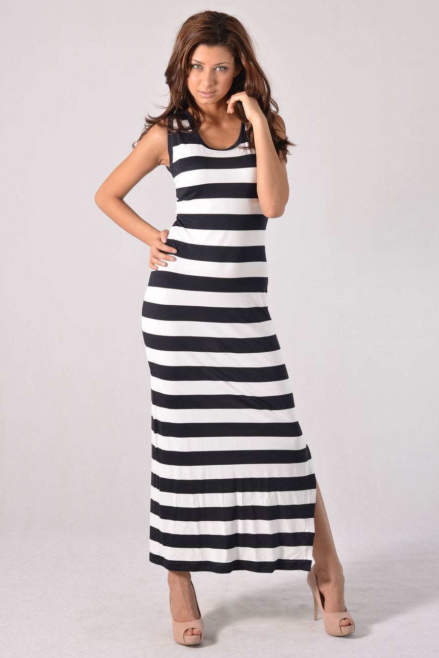 Summer Black and White Maxi Casual Dress Striped BNWT Size 6 8 10 12 14 16 18