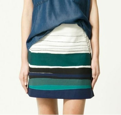 Brand New: Zara Striped Mini Skirt, size S