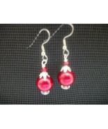 HANDCRAFTED SWAROVSKI RED PEARL EARRINGS  - $10.00