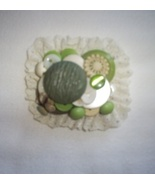 Vintage Green Button Brooch, Handcrafted, New - $3.25