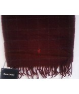 Ralph Lauren Lambs Wool Scarf Burgundy New - $21.00