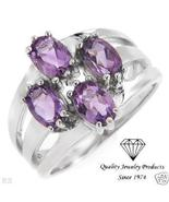 Genuine Amethyst Sterling Silver Ring Size 7.5 - $29.99