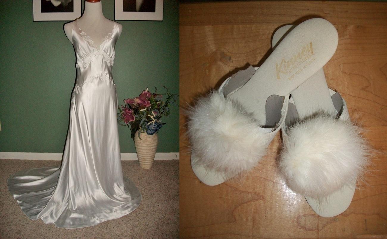 Victoria Secret Bridal Nightgown W Train Marabou