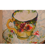 Chickadee Bird  & Tiny Teacup Canvas Wall Hangi... - $17.81